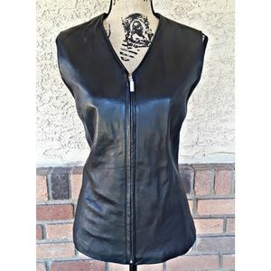 Alfani leather zip up vest